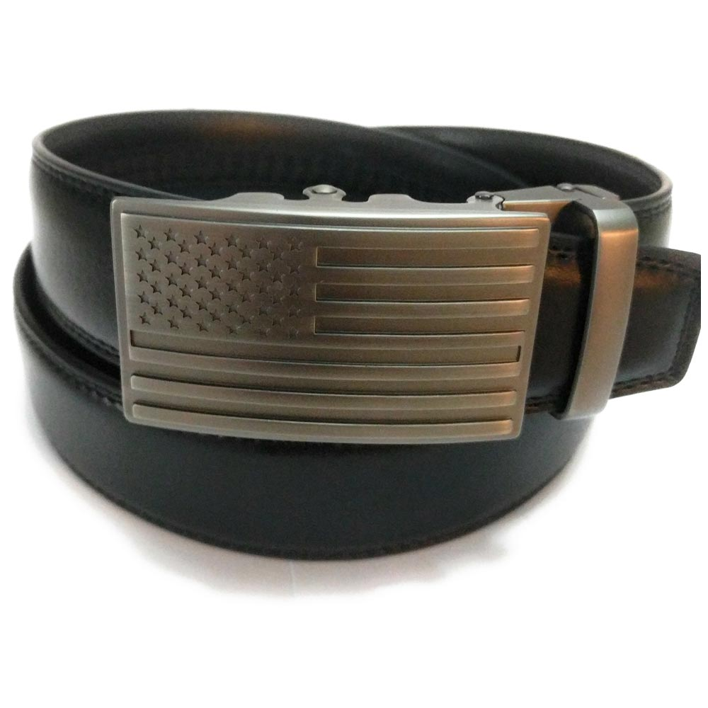 Leather Belt With American Flag Buckle