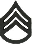 Black Metal Rank Staff Sergeant E-6 Army Insignia