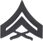 Corporal Black Metal Marine Corps Insignia