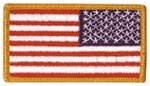 American Flag Gold Border Reverse Full Color with Fastener Army Patch - 2 x 3.25 inch