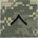 ACU Rank Private E-2 with Fastener Army Patch