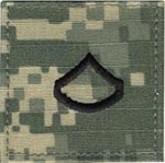 ACU Rank Private First Class E-3 with Fastener Army Patch