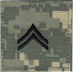 ACU Rank Corporal E-4 with Fastener Army Patch