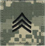 ACU Rank Sergeant E-5 with Fastener Army Patch