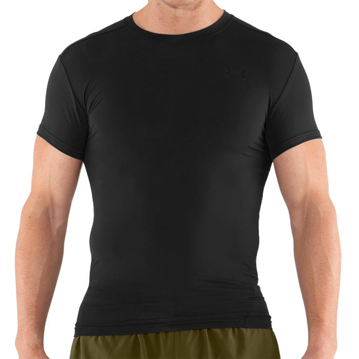 Under armour men 39 s tactical heatgear black compression t shirt for Under armor tactical t shirt