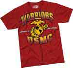 Red USMC Warriors T-shirt from 7.62 Design
