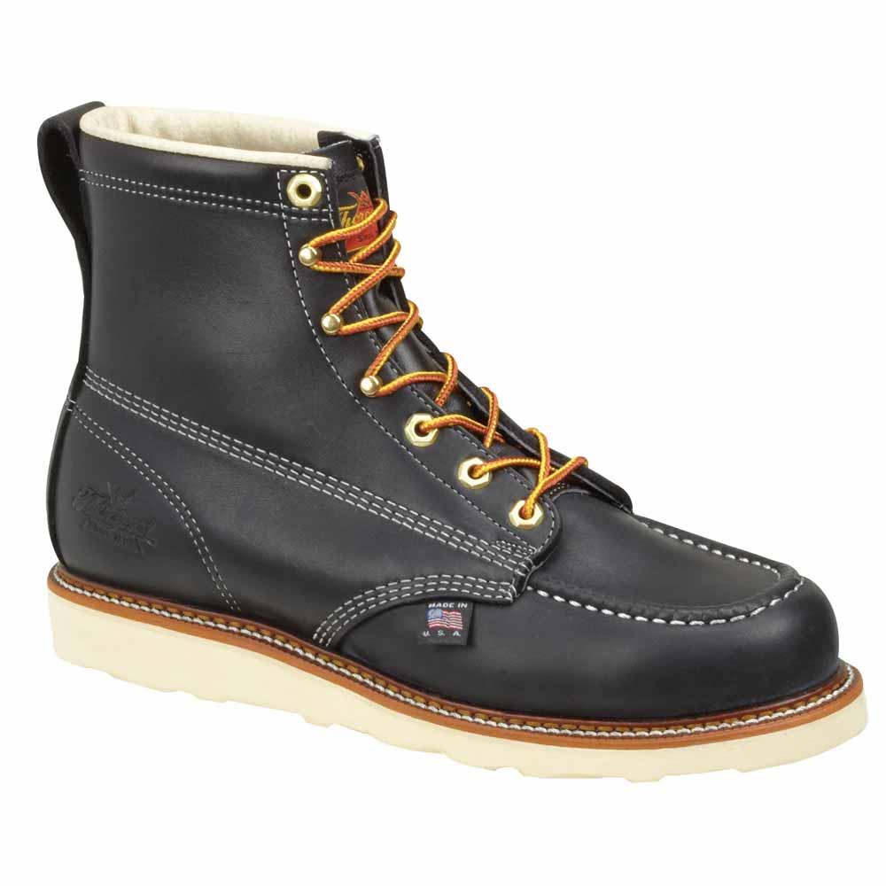 thorogood black 8 inch st moc wedge work boot