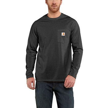 Carhartt Grey Force Cotton Long-Sleeve T-Shirt