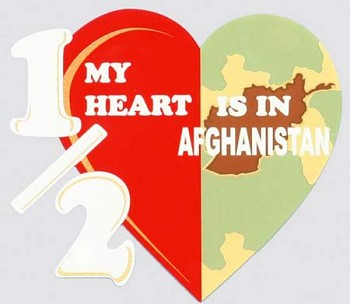 Half My Heart is in Afghanistan Sticker