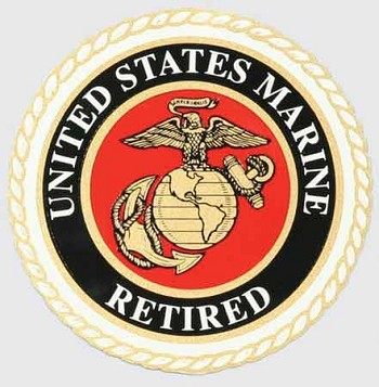 Round Retired Marine Sticker