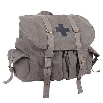 Vintage Weekender Canvas Olive Drab Backpack with Black Cross