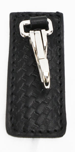 Basketweave Leather High Ride Key Ring Belt Clip