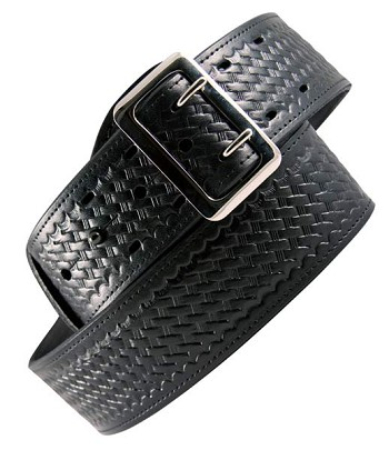Basketweave Leather Sam Browne Duty Belt with Silver Buckle