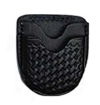 Open Top Basketweave Leather Handcuff Case