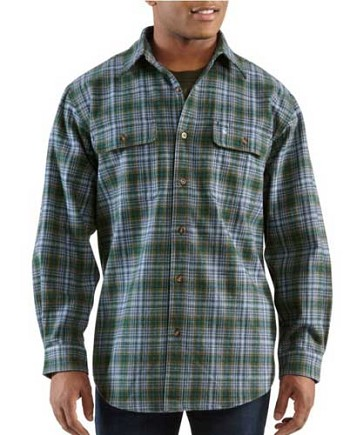 Carhartt Heavyweight Plaid Flannel Work Shirt - Black
