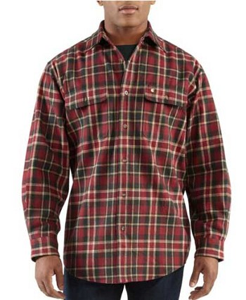 Carhartt Heavyweight Plaid Flannel Work Shirt - Dark Red