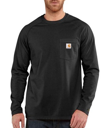 Carhartt Force Moisture Wicking Cotton Long Sleeve T-Shirt - Black