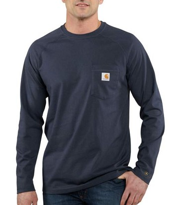 Carhartt Force Moisture Wicking Cotton Long Sleeve T-Shirt - Navy