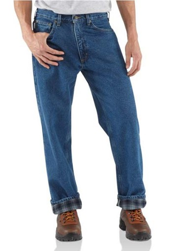 Carhartt Flannel Lined Relaxed Fit Straight Leg Jeans - Dark Stone