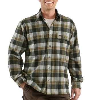 Carhartt Mens Cold Weather Plaid Flannel Shirt