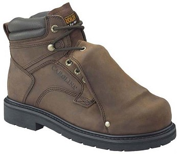 Carolina 599: 6-inch Broad Toe Met Guard Boot - Dark Brown Crazy Horse