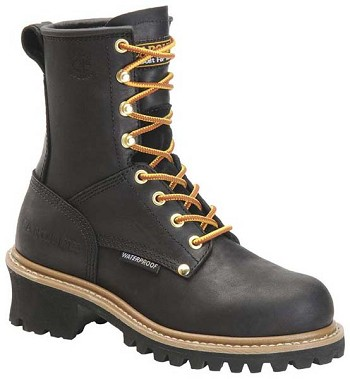 Carolina CA1420 Womens 8-inch Waterproof Steel Toe Logger Boot - Black