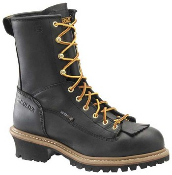 Carolina CA8825: 8-inch Waterproof Lace to Toe Logger Boot - Black
