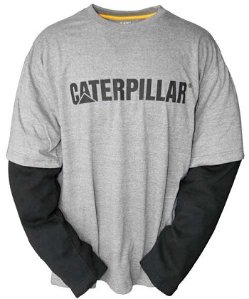 Caterpillar Thermal Layered Long Sleeve Grey and Black T-Shirt