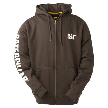 Caterpillar Full Zip Brown Hooded Sweatshirt
