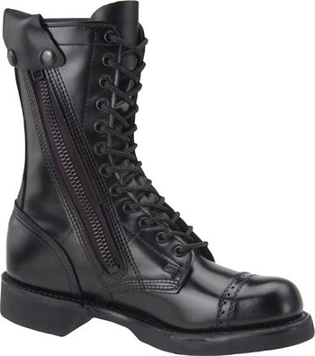 Corcoran Mens 10-inch Black Leather Side Zip Military Combat Boots - XC1585
