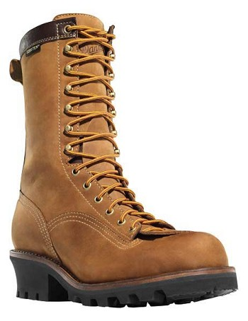 Danner Quarry Logger 10-inch Vintage Brown Waterproof Work Boots - 14573