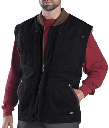Dickies Black Sanded Sherpa Lined Work Vest - TE445-BK