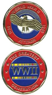 The Greatest Generation World War II Challenge Coin