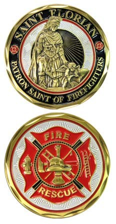 Saint Florian Fire Rescue Challenge Coin