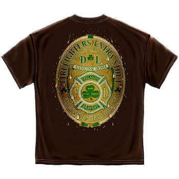 Ireland's Bravest Extra Stout Firefighters T-Shirt - Brown