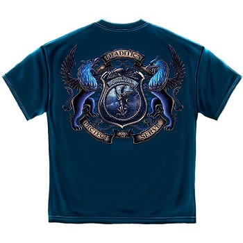 Protect and Serve Coat of Arms Police T-Shirt - Navy