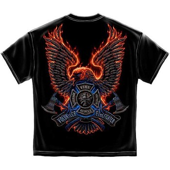 Flaming Eagle Volunteer Firefighter T-Shirt - Black
