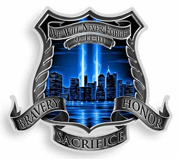 Bravery Honor Sacrifice 9-11 Memorial Sticker