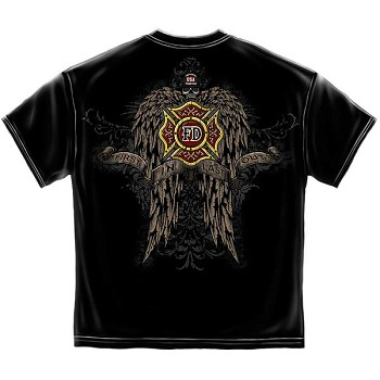 Skull and Wings Full Front and Back Firefighter T-Shirt - Black