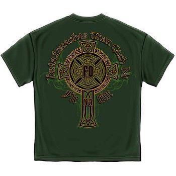 Irish Heritage Gold Cross Firefighter T-Shirt - Hunter Green