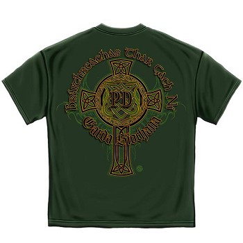 Irish Heritage Gold Cross Police T-Shirt - Hunter Green