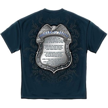 Policeman's Chrome Badge and Policeman's Prayer T-Shirt - Blue