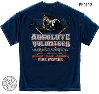 Absolute Volunteer Firefighter Blue Print Navy T-Shirt