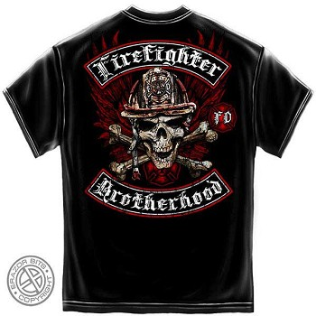 Biker Cross Bones Firefighter T-Shirt - Black
