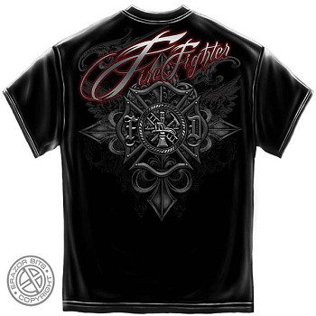 Red Foil Script Firefighter T-Shirt - Black