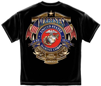 USMC Badge of Honor Semper Fi T-Shirt - Black
