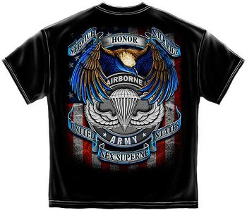 Airborne Army Service Honor Sacrifice T-Shirt - Black