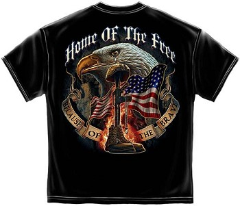 Home of the Free Because of the Brave Military T-Shirt - Black