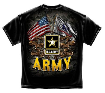 US Army Double Flag T-Shirt - Black