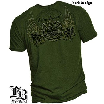 Elite Breed Irish Firefighter T-Shirt - Military Green